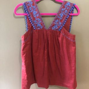 J. Crew embroidered pom pom tank top - Size 4